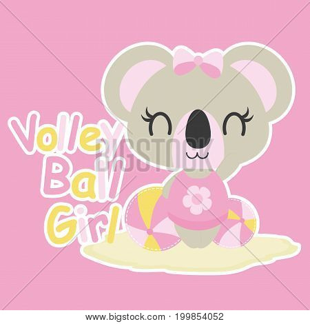 Cute baby koala plays volley ball vector cartoon illustration for baby shower card design, kid t shirt design, and wallpaper