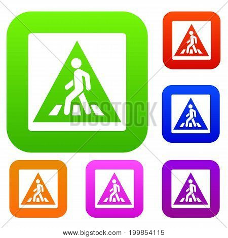 Pedestrian road sign set icon in different colors isolated vector illustration. Premium collection