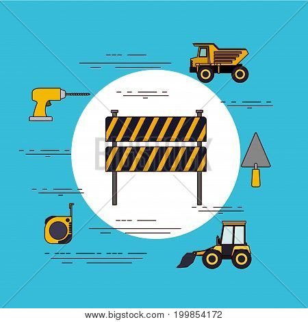 color background circular frame with barricade in black and yellow stripes with tools for construction vector illustration