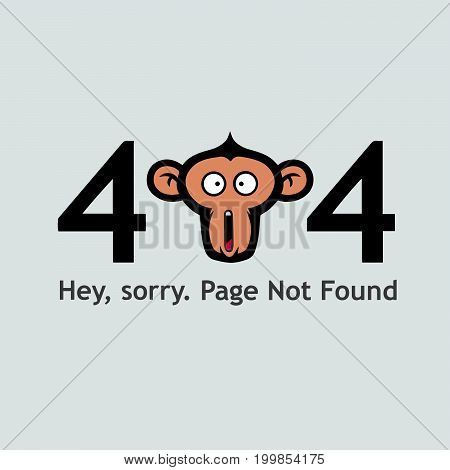 404 Page Not Found with Monkey Face Screaming Illustration Vector