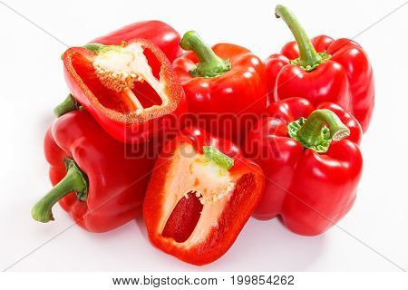 Red Ripe Peppers On White Background, Healthy Nutrition