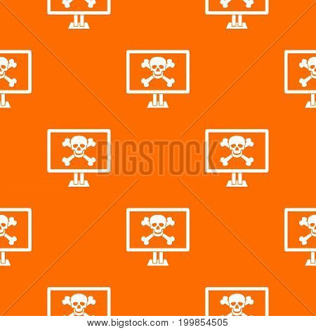 Computer monitor with a skull and bones pattern repeat seamless in orange color for any design. Vector geometric illustration