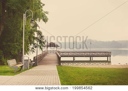 Vintage Photo, Footpath And Wooden Pier At Lake