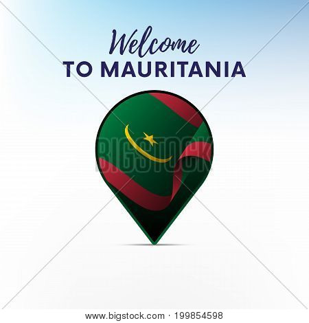 Flag of Mauritania in shape of map pointer or marker. Welcome to Mauritania. Vector illustration.