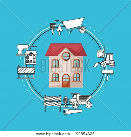 color background circular frame with house facade and tools for construction around vector illustration
