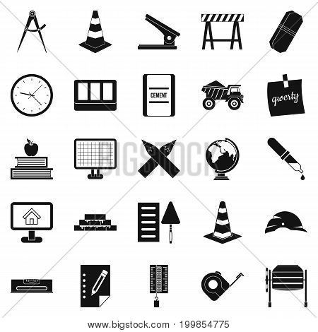 Range icons set. Simple set of 25 range vector icons for web isolated on white background