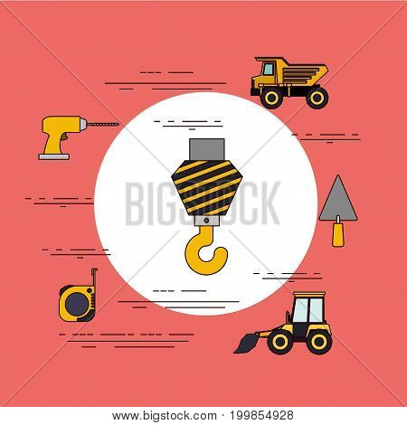 color background circular frame with crane hook and tools for construction around vector illustration