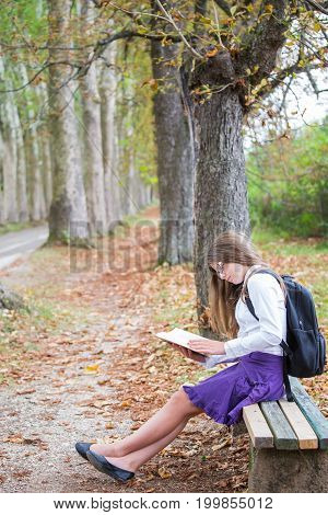 Pretty Little Blonde Schoolgirl With Backpack And Long Hair Sitting On The Bench In The Alley Park A