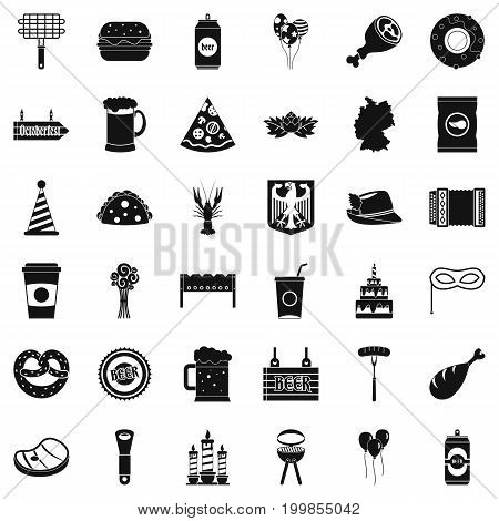 Beer party icons set. Simple style of 36 beer party vector icons for web isolated on white background