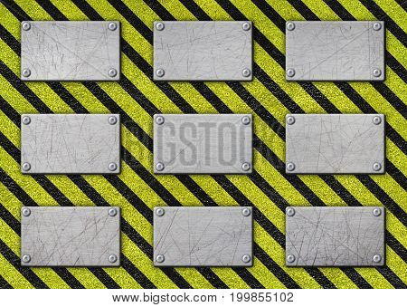 Warning Label, Metal Frame With Black And Yellow Stripe, 3D, Illustration