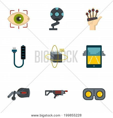 VR game equipment icons set. Flat set of 9 VR game equipment vector icons for web isolated on white background