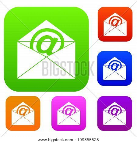 Envelope with email sign set icon in different colors isolated vector illustration. Premium collection