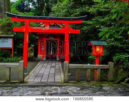 HAKONE, JAPAN - JULY 02, 2017: Red Tori Gate at Fushimi Inari Shrine in Kyoto, Japan.