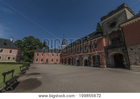 Sychrov castle in north Bohemia in sunny summer day