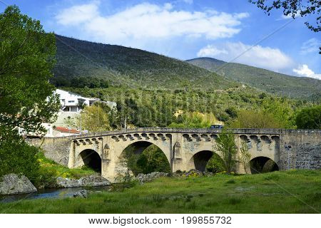 Auto-road bridge in Ponte-Leccia in Corsica, France