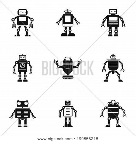 Robot icons set. Simple set of 9 robot vector icons for web isolated on white background