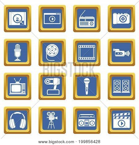 Audio and video icons set in blue color isolated vector illustration for web and any design