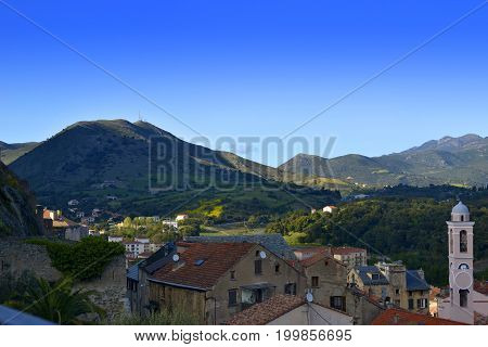 View on Corte from Point Belvedere Corsica France