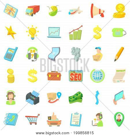 Business contract icons set. Cartoon style of 36 business contract vector icons for web isolated on white background