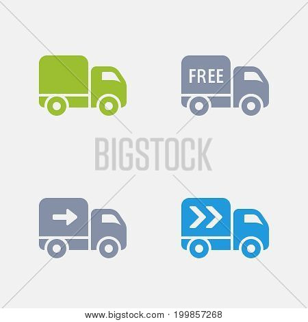 Delivery Trucks  - Granite Icons. A set of 4 professional, pixel-perfect icons designed on a 32x32 pixel grid.
