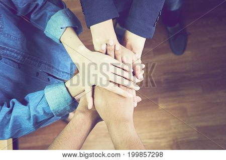 Business teamwork Join Hands Support Together Concept.