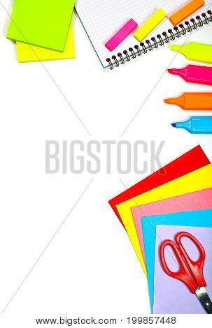 Border of a school stationery isolated on white background, text space, supplies for elementary school, back to school concept