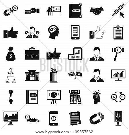 Business training icons set. Simple style of 36 business training vector icons for web isolated on white background