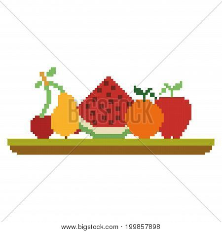colorful pixelated set collection fruits in meadow vector illustration