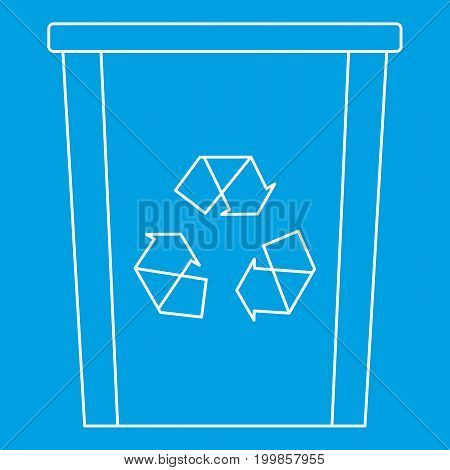 Recycle bin icon blue outline style isolated vector illustration. Thin line sign