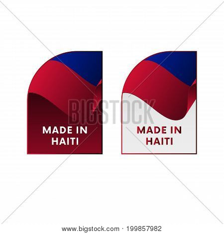 Stickers Made in Haiti. Waving flag. Vector illustration.
