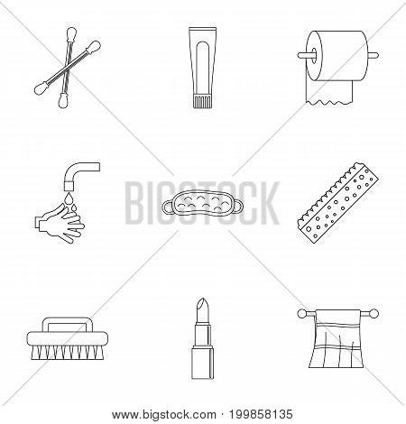 Bathroom equipment icons set. Outline set of 9 bathroom equipment vector icons for web isolated on white background