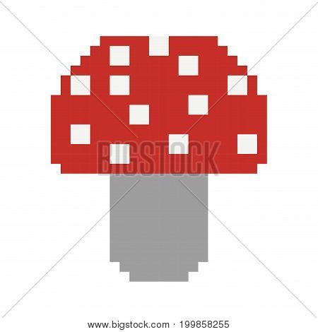 colorful pixelated mushroom in red color with dots vector illustration