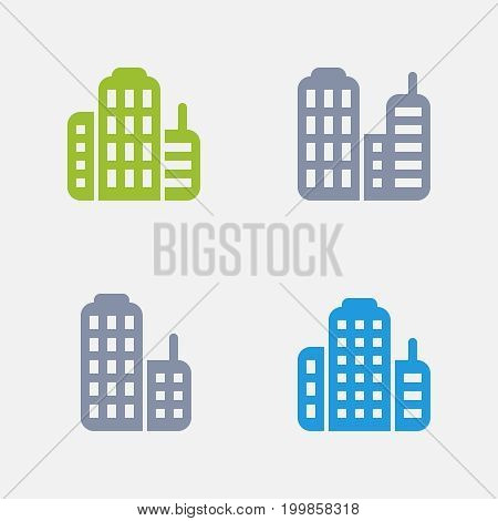 Skyscrapers - Granite Icons. A set of 4 professional, pixel-perfect icons designed on a 32x32 pixel grid.