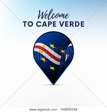 Flag of Cape Verde in shape of map pointer or marker. Welcome to Cape Verde. Vector illustration.