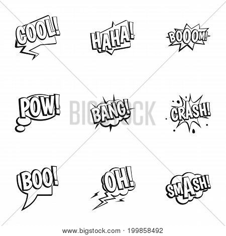 Clouds with comic speech bubbles icons set. Outline set of 9 clouds with comic speech bubbles vector icons for web isolated on white background