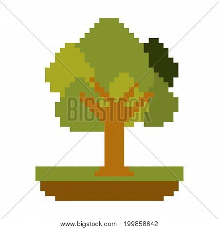 colorful pixelated tree in meadow with ramifications and leaves vector illustration