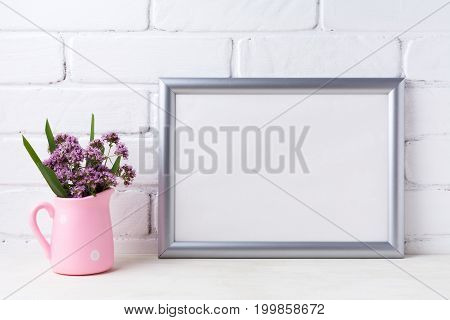 Silver Landscape Frame Mockup With Purple Flowers In Pink Rustic Pitcher
