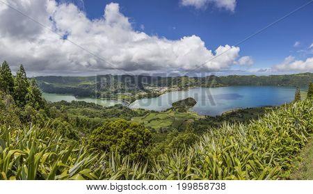 Lake of Sete Cidades in Sao Miguel, Azores Portugal