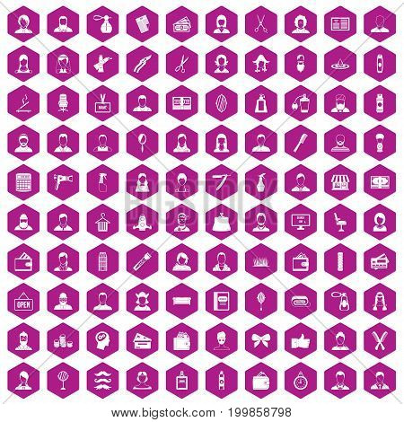 100 hairdresser icons set in violet hexagon isolated vector illustration
