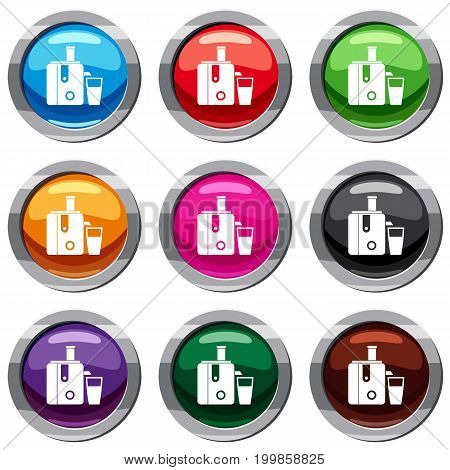 Juicer set icon isolated on white. 9 icon collection vector illustration