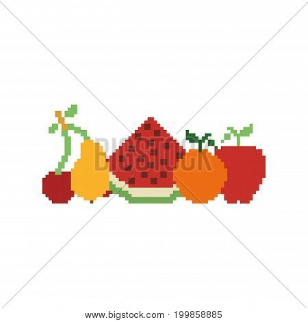 colorful pixelated set collection fruits vector illustration