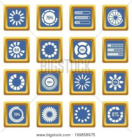 Loading bars and preloaders icons set in blue color isolated vector illustration for web and any design