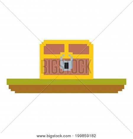 colorful pixelated treasure chest with padlock in meadow vector illustration