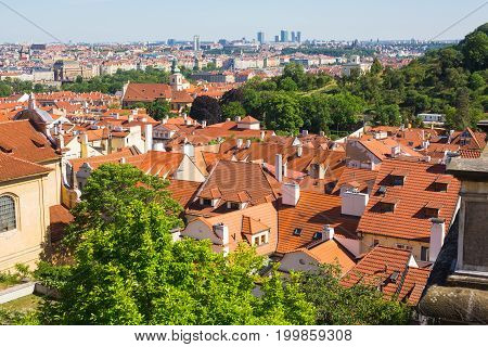 Prague roof tops. Houses with traditional red roofs in Prague