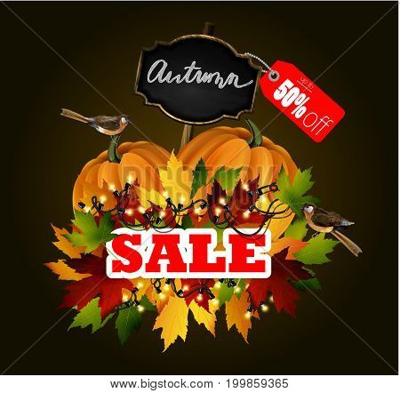 Autumn Sale Concept with Autumn Leaves Vector Illustration