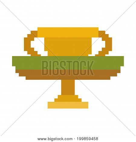 colorful pixelated golden trophy in meadow vector illustration