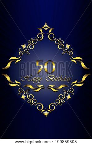 Card with gold frame of leaves with stars and 50 Happy Birthday on radiant blue background