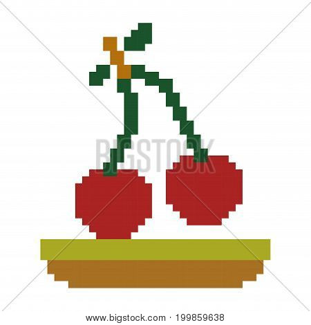 colorful pixelated cherry fruits in meadow vector illustration