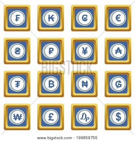 Currency from different countries icons set in blue color isolated vector illustration for web and any design