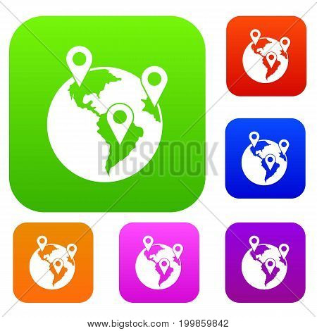 Globe and map pointers set icon in different colors isolated vector illustration. Premium collection
